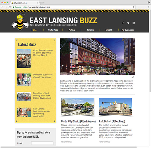 East Lansing Buzz website graphic